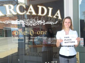 Intern Kim in Downtown Arcadia, Indiana