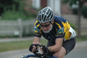 A Senior Games athlete participating in the Cycling event