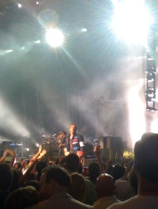 Coldplay performing on stage at Verizon Wireless
