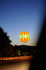 The balloon at night (photo from Conner Prairie's Flickr stream)