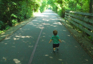 Christopher finding his way along the Monon Trail in Carmel