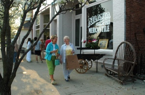 Shoppers strolling outside the Atlanta Mercantile